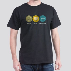 Peace Love Cab Driving Dark T-Shirt