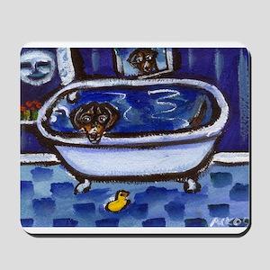 Dachshund takes bath Mousepad