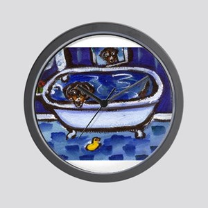 Dachshund takes bath Wall Clock