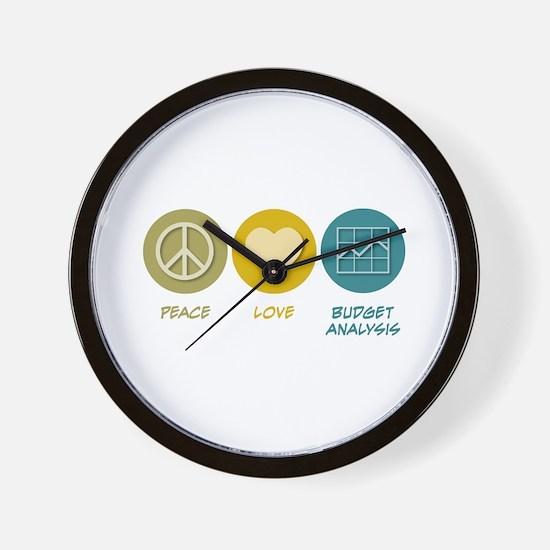 Peace Love Budget Analysis Wall Clock
