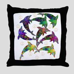 Dolphin Peace Group Throw Pillow