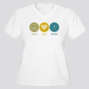 Peace Love Bridge Women's Plus Size V-Neck T-Shirt