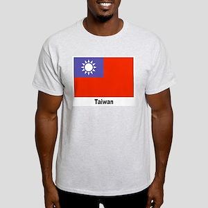 Taiwan Flag (Front) Ash Grey T-Shirt