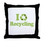 I Love Recycling Throw Pillow