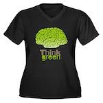 Think Green Women's Plus Size V-Neck Dark T-Shirt