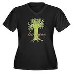 Tree Hugger Shirt Women's Plus Size V-Neck Dark T-