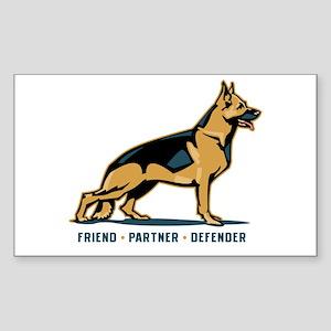 German Shepherd Friend Rectangle Sticker