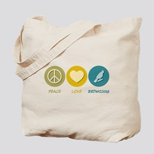 Peace Love Birdwatching Tote Bag