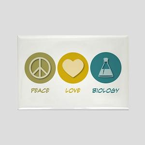 Peace Love Biology Rectangle Magnet