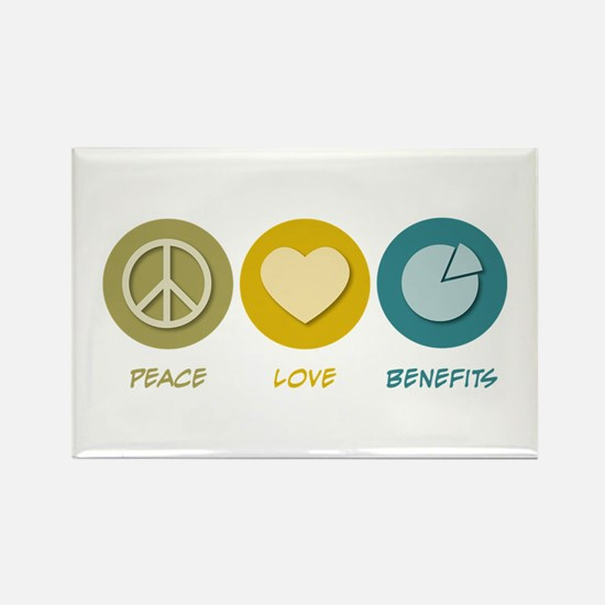 Peace Love Benefits Rectangle Magnet