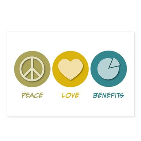 Peace Love Benefits Postcards (Package of 8)