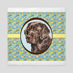 Chocolate Labrador Retriever Retro Queen Duvet