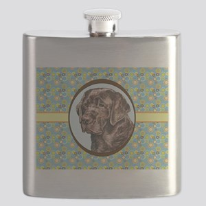 Chocolate Labrador Retriever Retro Flask