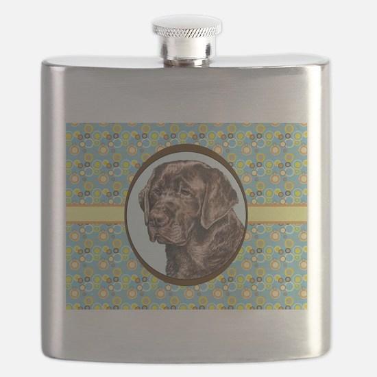 Chocolate Labrador Retriever Retro Flask