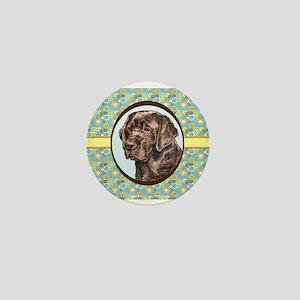 Chocolate Labrador Retriever Retro Mini Button