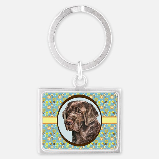 Chocolate Labrador Retriever Re Landscape Keychain