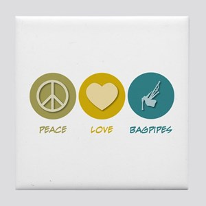 Peace Love Bagpipes Tile Coaster