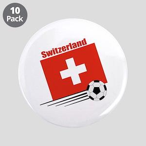 """Switzerland Soccer Team 3.5"""" Button (10 pack)"""