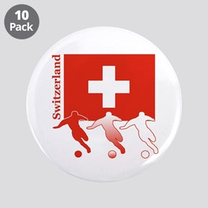 "Switzerland Soccer 3.5"" Button (10 pack)"
