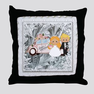 Wedding Day Bride And Groom Throw Pillow