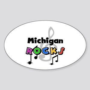 Michigan Rocks Oval Sticker