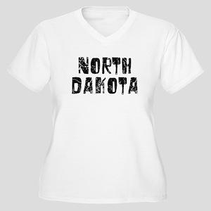 North Dakota Faded (Black) Women's Plus Size V-Nec