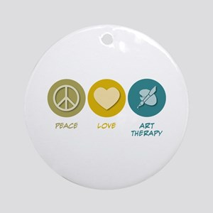 Peace Love Art Therapy Ornament (Round)