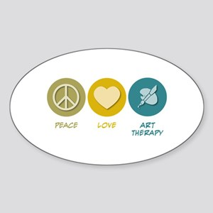 Peace Love Art Therapy Oval Sticker