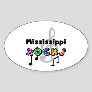 Mississippi Rocks Oval Sticker