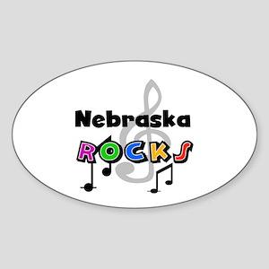 Nebraska Rocks Oval Sticker