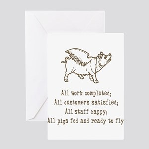 Pigs Ready to Fly Greeting Cards