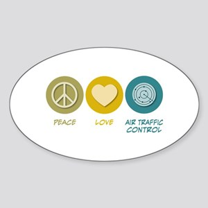 Peace Love Air Traffic Control Oval Sticker