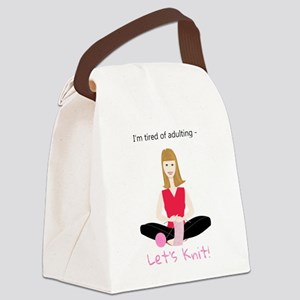 Woman knitting, tired of adulting Canvas Lunch Bag