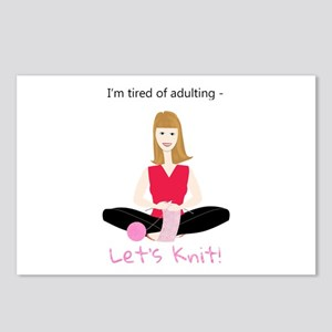 Woman knitting, tired of Postcards (Package of 8)