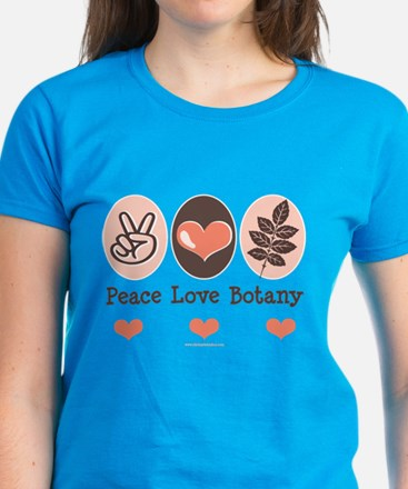 Peace Love Botany Botanist Women's Dark T-Shirt