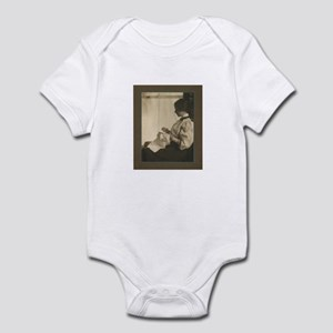 Vintage Woman with Embroidery Infant Bodysuit