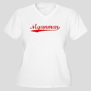 Vintage Myanmar (Red) Women's Plus Size V-Neck T-S