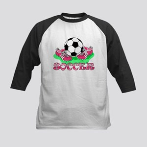 Soccer (Pink) Kids Baseball Jersey