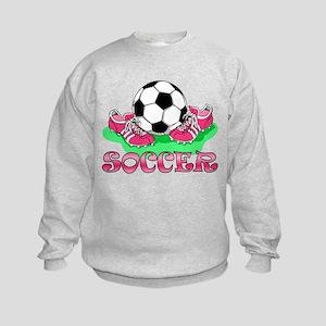 Soccer (Pink) Kids Sweatshirt