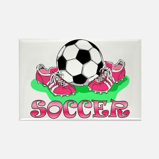 Soccer (Pink) Rectangle Magnet
