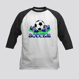 Soccer (Blue) Kids Baseball Jersey