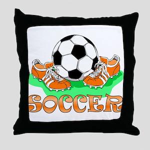 Soccer (Orange) Throw Pillow