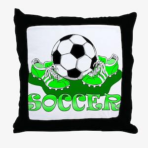 Soccer (Green) Throw Pillow