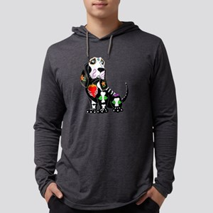Basset Hound Sugar Skull Long Sleeve T-Shirt