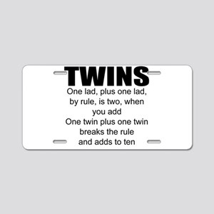 Twins poem Aluminum License Plate
