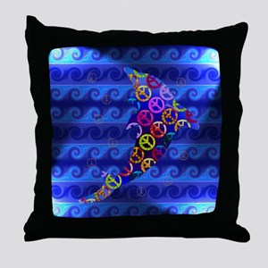 Dolphin Peace - Saturday Throw Pillow