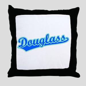 Retro Douglass (Blue) Throw Pillow