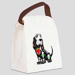 Basset Hound Sugar Skull Canvas Lunch Bag