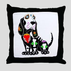 Basset Hound Sugar Skull Throw Pillow