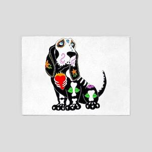 Basset Hound Sugar Skull 5'x7'Area Rug